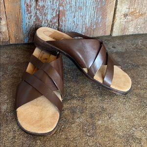 Etienne Aigner Brown Leather Slide Sandals